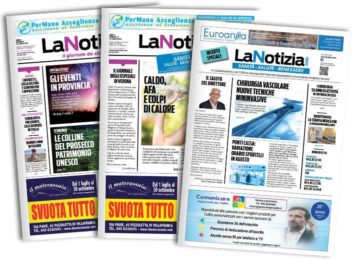 La Notizia edizione Pianura Veronese, Edizione Verona, Edizione Salute e Sanità, copertine
