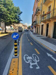 Tratto di pista ciclabile tra Porta Palio e via Roma